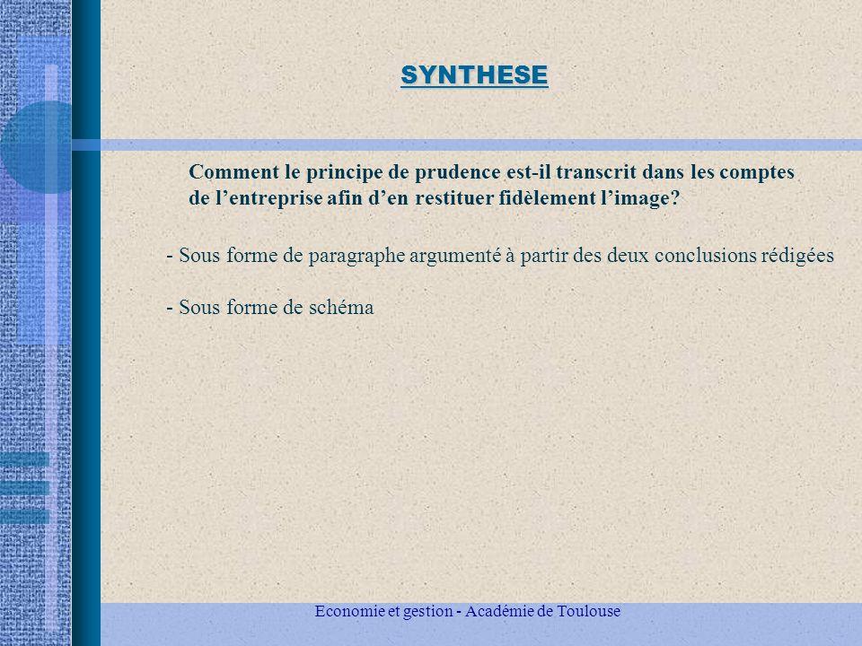 Economie et gestion - Académie de Toulouse SYNTHESE - Sous forme de paragraphe argumenté à partir des deux conclusions rédigées - Sous forme de schéma Comment le principe de prudence est-il transcrit dans les comptes de lentreprise afin den restituer fidèlement limage?