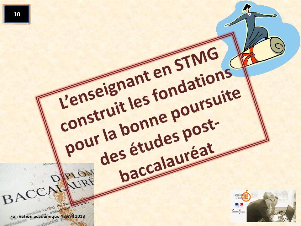 Lenseignant en STMG construit les fondations pour la bonne poursuite des études post- baccalauréat Formation académique 4 Avril 2013 10