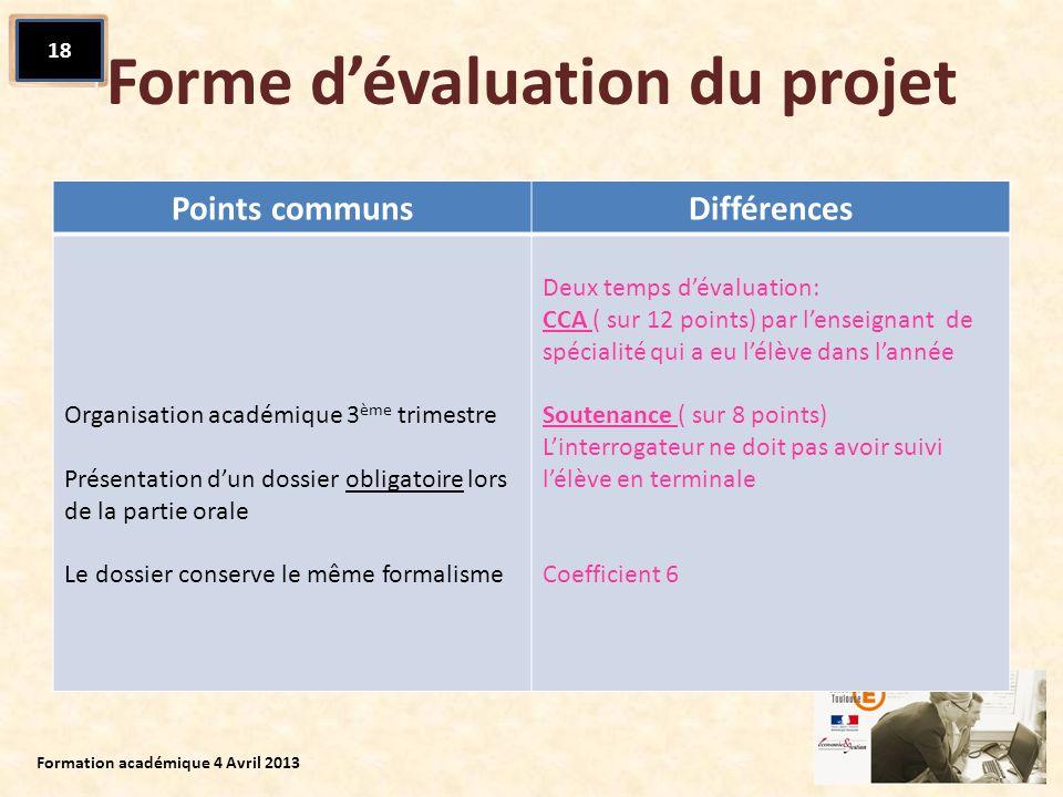 Forme dévaluation du projet Points communsDifférences Organisation académique 3 ème trimestre Présentation dun dossier obligatoire lors de la partie o
