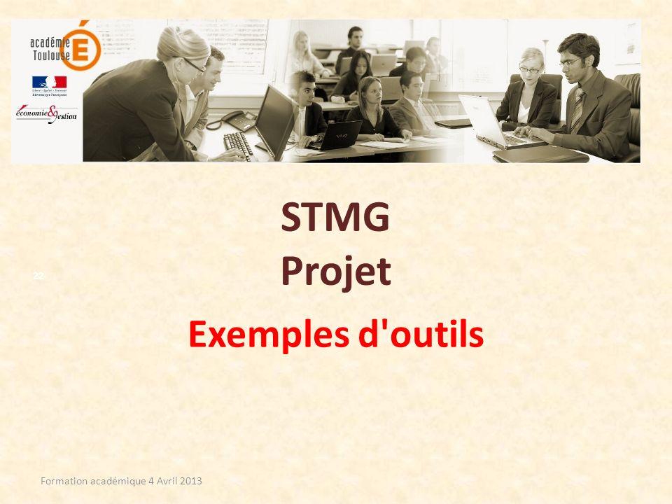 STMG Projet Exemples d'outils Formation académique 4 Avril 2013 22