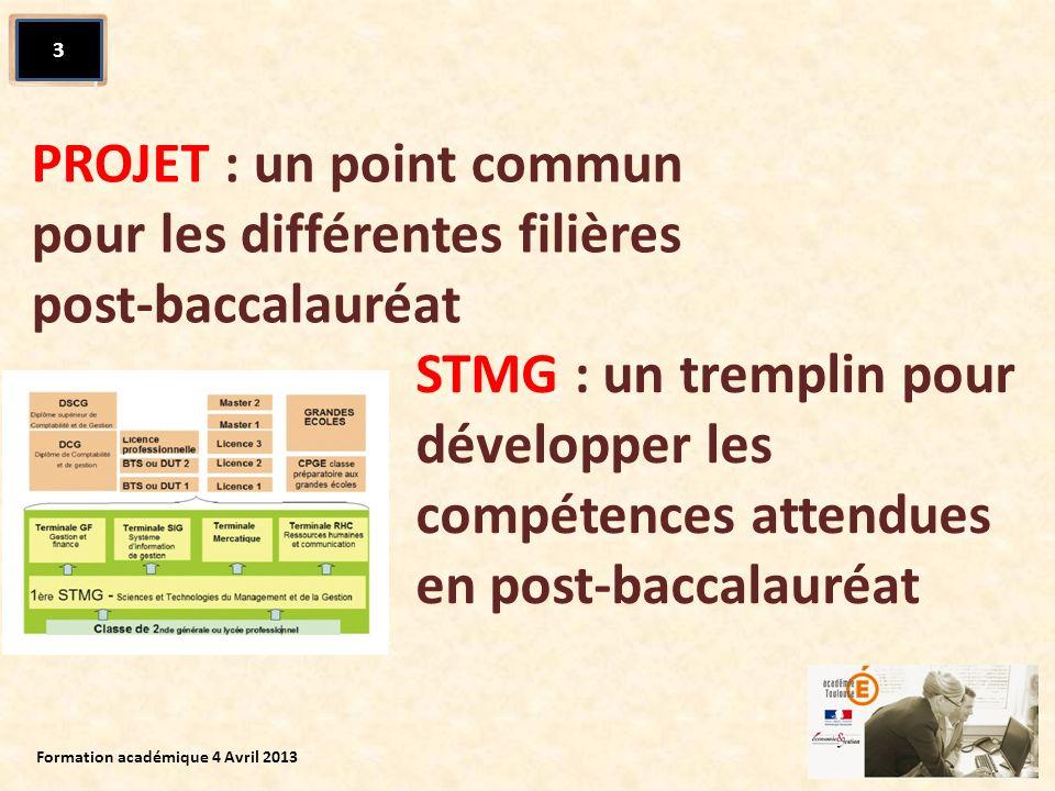 PROJET : un point commun pour les différentes filières post-baccalauréat 3 STMG : un tremplin pour développer les compétences attendues en post-baccal