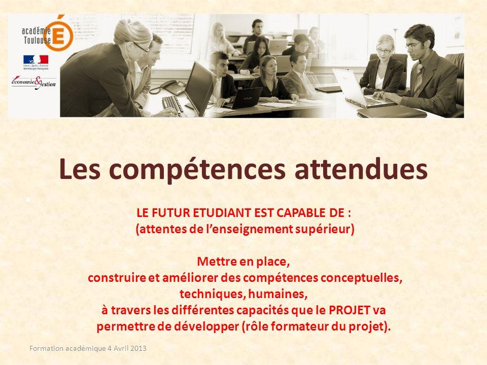 Les compétences attendues LE FUTUR ETUDIANT EST CAPABLE DE : (attentes de lenseignement supérieur) Mettre en place, construire et améliorer des compét