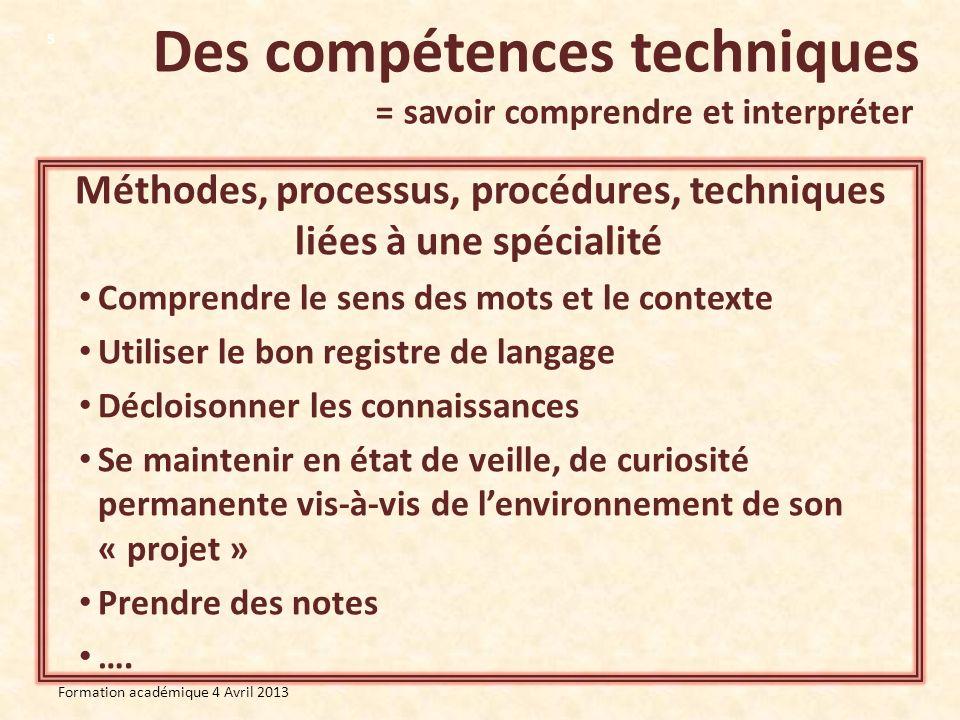 Des compétences conceptuelles = savoir analyser, comprendre et agir de manière globale Formation académique 4 Avril 2013 6