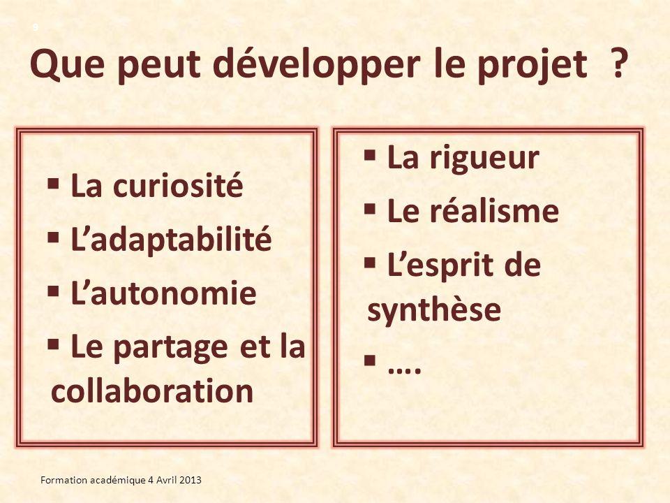 Que peut développer le projet ? La curiosité Ladaptabilité Lautonomie Le partage et la collaboration La rigueur Le réalisme Lesprit de synthèse …. For