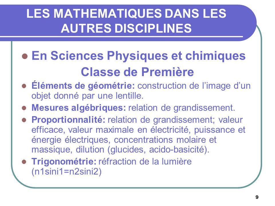 10 LES MATHEMATIQUES DANS LES AUTRES DISCIPLINES En Sciences Physiques et chimiques Classe de Première Notion dinverse: distance focale et vergence (lentilles), fréquence et période (électricité).