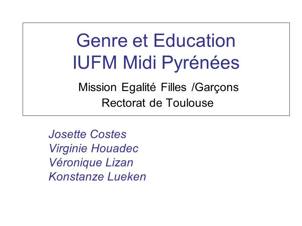 Genre et Education IUFM MP Mission Egalité F/G AC Toulouse En LGT En terminale en 2005-06 SMS: 95,1 % de filles STT: 59,4% de filles Littéraire: 80,7% de filles ES: 63.3% STL: 56,4% S:45,5% STI: 8,6 %