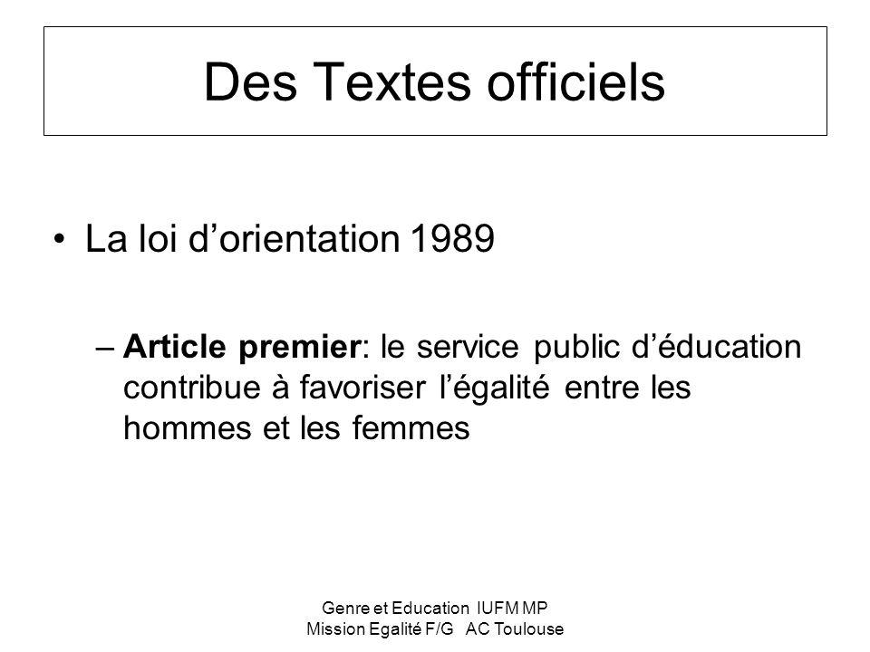 Genre et Education IUFM MP Mission Egalité F/G AC Toulouse Des Textes officiels La loi dorientation 1989 –Article premier: le service public déducation contribue à favoriser légalité entre les hommes et les femmes