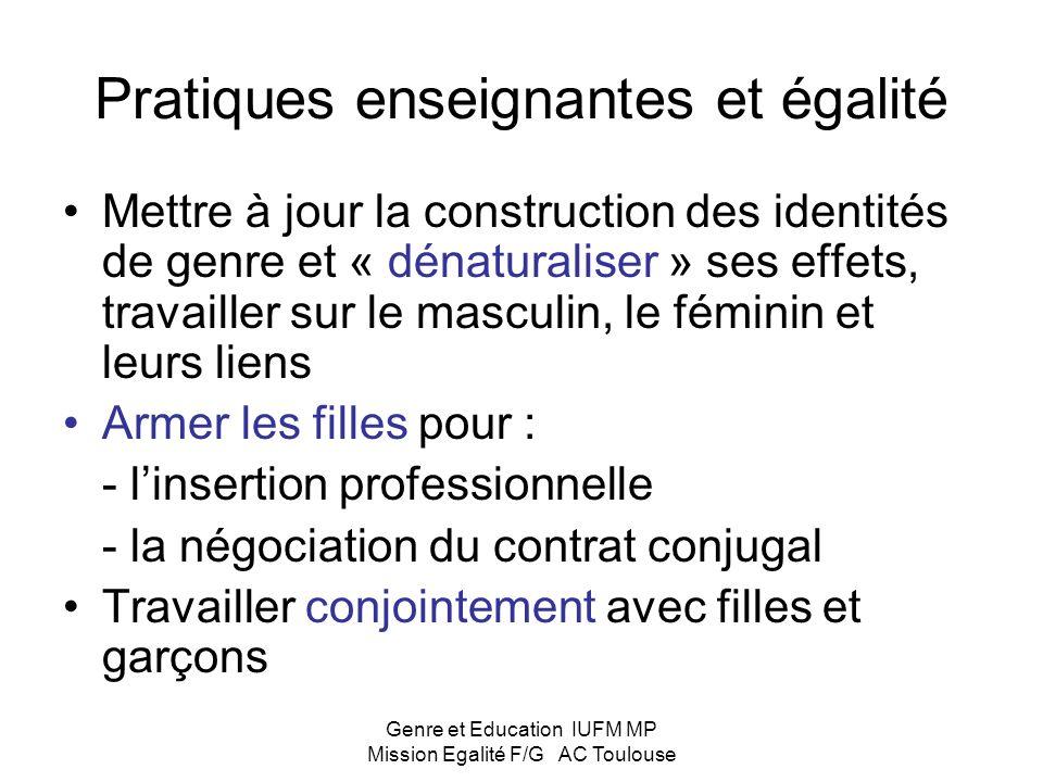 Genre et Education IUFM MP Mission Egalité F/G AC Toulouse Un problème compliqué avec des solutions dune grande simplicité Rôle essentiel des enseigna