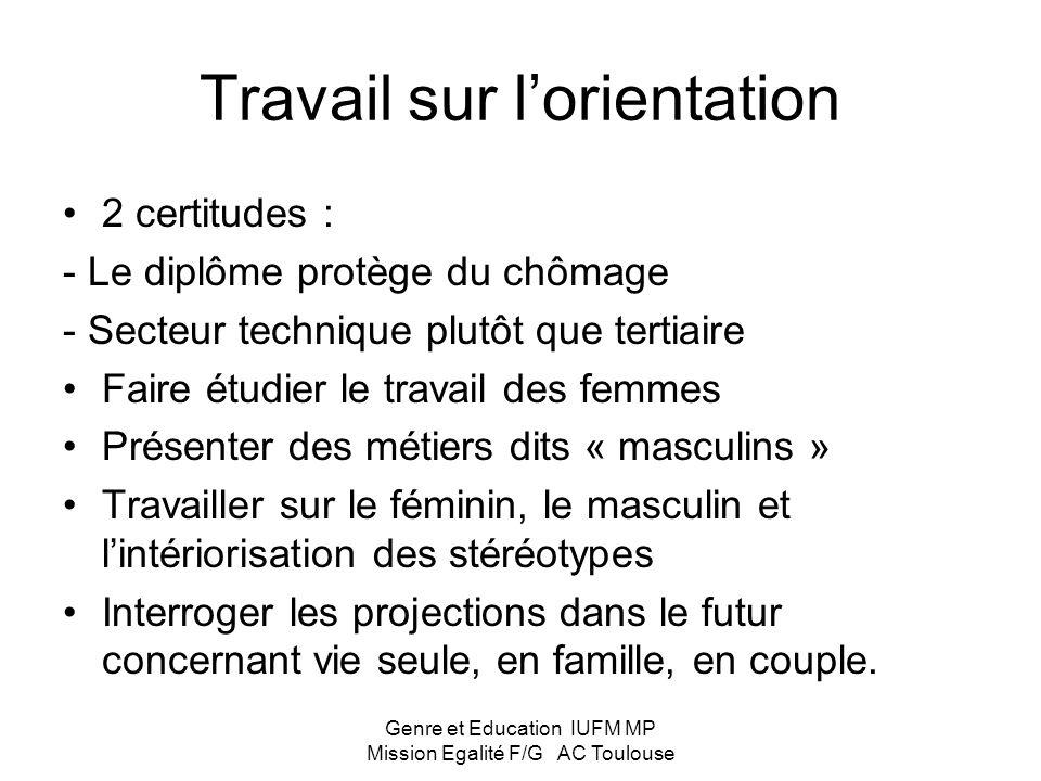 Genre et Education IUFM MP Mission Egalité F/G AC Toulouse Pratiques égalitaires en classe Par rapport à soi : traquer les stéréotypes dans les attitu