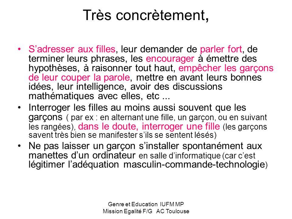Genre et Education IUFM MP Mission Egalité F/G AC Toulouse Travail sur lorientation 2 certitudes : - Le diplôme protège du chômage - Secteur technique