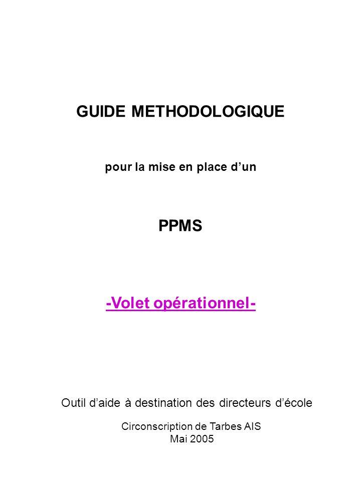 Page de garde GUIDE METHODOLOGIQUE pour la mise en place dun PPMS -Volet opérationnel- Circonscription de Tarbes AIS Mai 2005 Outil daide à destinatio