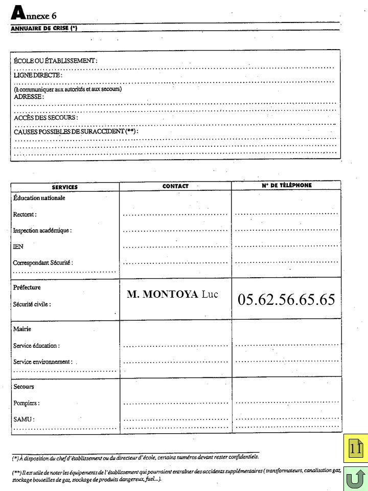 Annexe 6: annuaire de crise 11 M. MONTOYA Luc 05.62.56.65.65