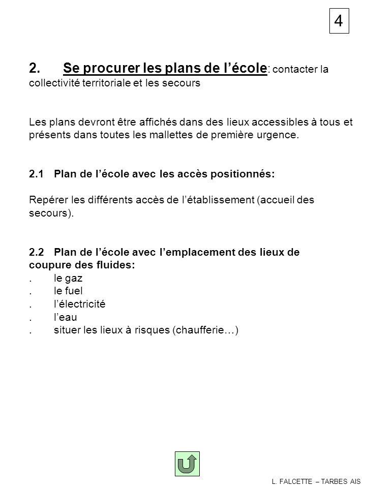plans 2. Se procurer les plans de lécole : contacter la collectivité territoriale et les secours Les plans devront être affichés dans des lieux access