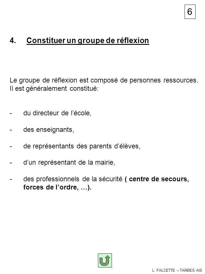 Groupe de réflexion 4. Constituer un groupe de réflexion Le groupe de réflexion est composé de personnes ressources. Il est généralement constitué: -d