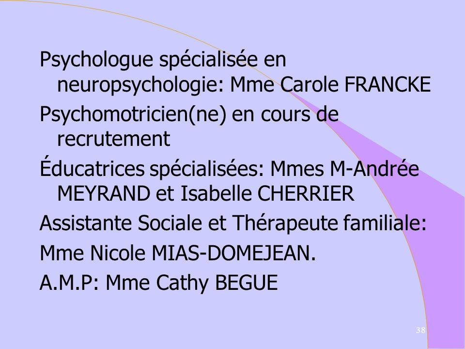 Membres de léquipe Chef de service: M Philippe MERIAUX Médecin coordinateur: M Marc WIOROWSKI orthophonistes: Mmes M-C. CHAUVET et Adeline PITOT Psych