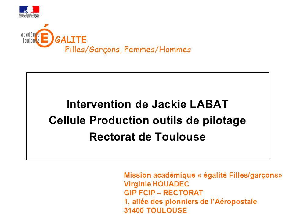 Intervention de Jackie LABAT Cellule Production outils de pilotage Rectorat de Toulouse Mission académique « égalité Filles/garçons» Virginie HOUADEC