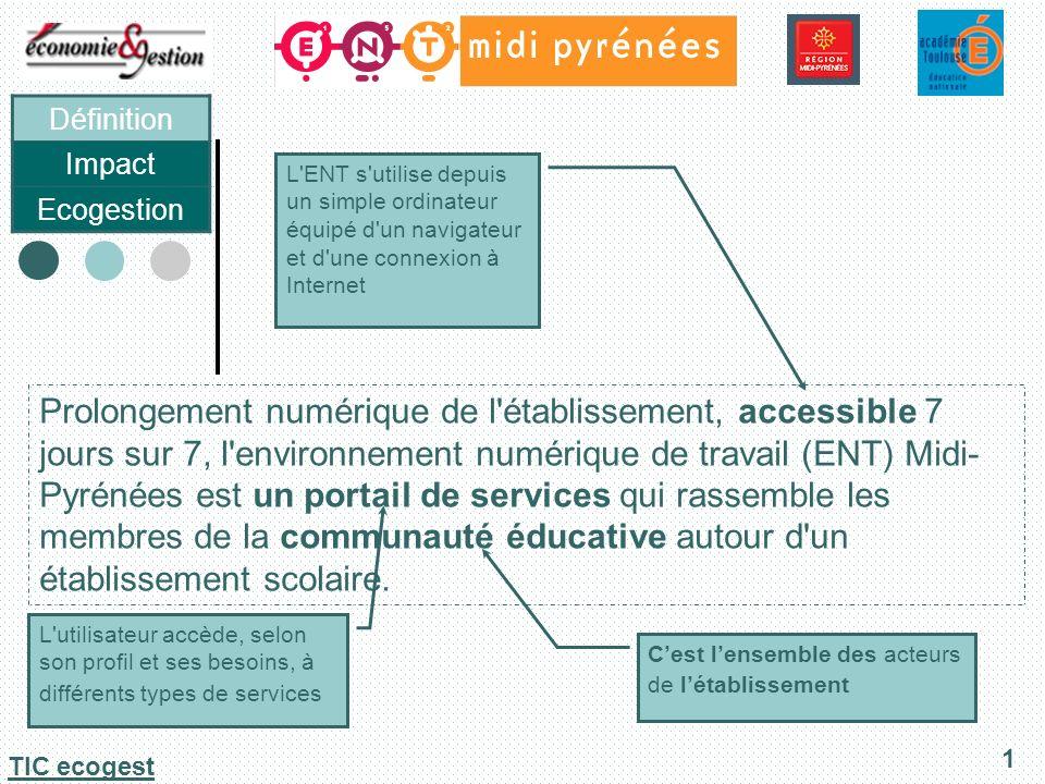 Définition Impact Ecogestion 2 TIC ecogest Impact sur lenseignement Impact sur les tâches administratives Impact sur lenvironnement