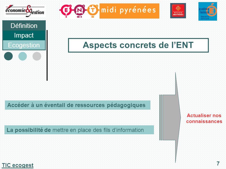 Définition Impact Ecogestion 8 TIC ecogest Aspects concrets de lENT Être plus proche de lélève Rendre plus pratique le travail en équipe