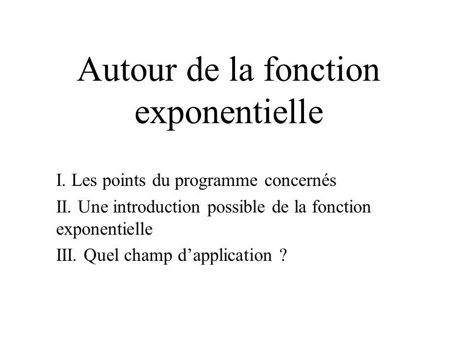 ( on dit que lon résout une équation différentielle, notée indifféremment f =kf ou y =k y) Parmi les fonctions connues à ce stade détude, y en a- t-il dont la dérivée soit proportionnelle à la fonction .