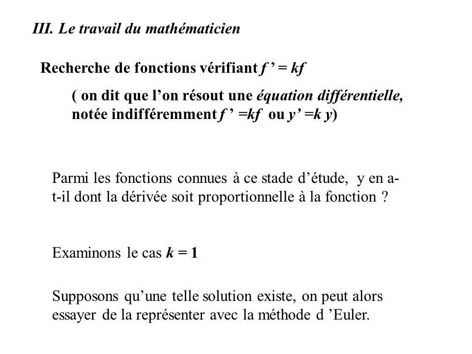 ( on dit que lon résout une équation différentielle, notée indifféremment f =kf ou y =k y) Parmi les fonctions connues à ce stade détude, y en a- t-il