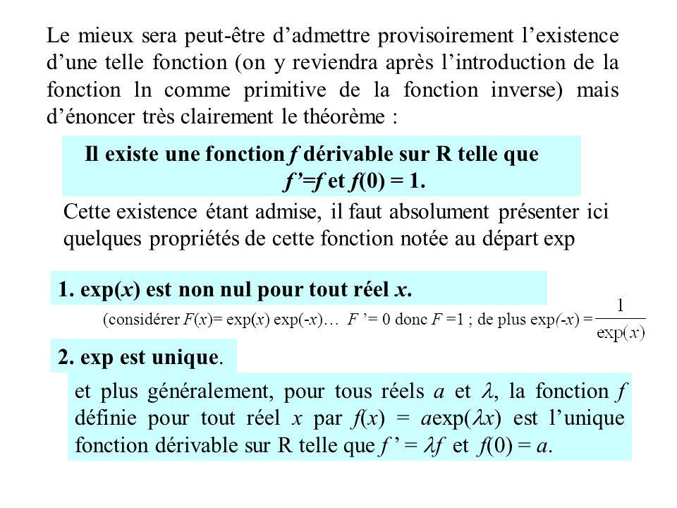 Le mieux sera peut-être dadmettre provisoirement lexistence dune telle fonction (on y reviendra après lintroduction de la fonction ln comme primitive