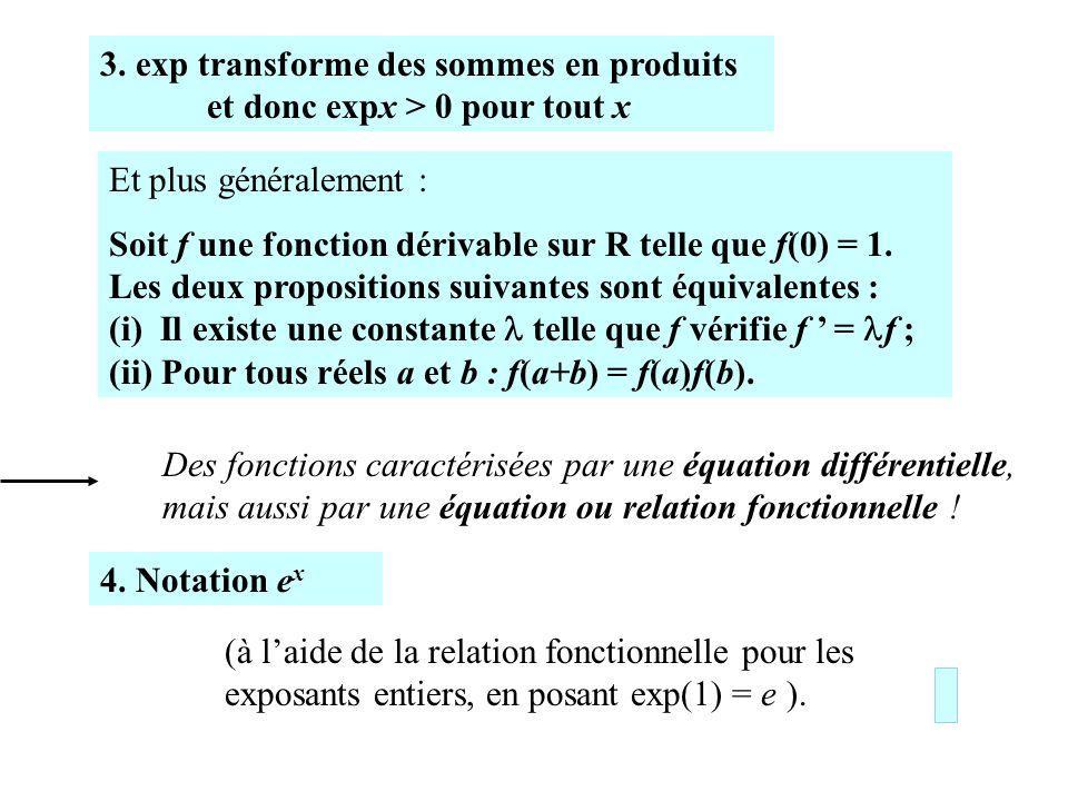 3. exp transforme des sommes en produits et donc expx > 0 pour tout x Et plus généralement : Soit f une fonction dérivable sur R telle que f(0) = 1. L