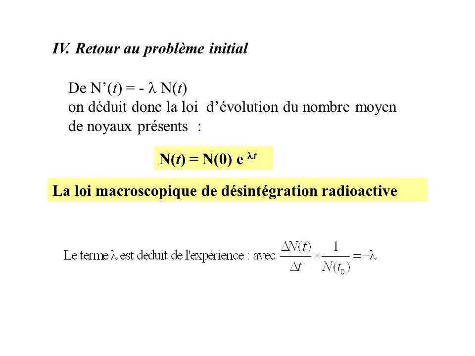 IV. Retour au problème initial De N(t) = - N(t) on déduit donc la loi dévolution du nombre moyen de noyaux présents : N(t) = N(0) e - t La loi macrosc