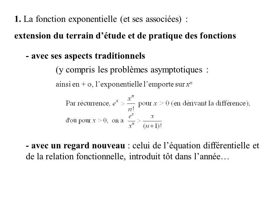 1. La fonction exponentielle (et ses associées) : extension du terrain détude et de pratique des fonctions - avec ses aspects traditionnels (y compris