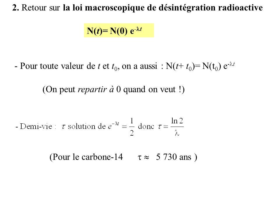 2. Retour sur la loi macroscopique de désintégration radioactive (Pour le carbone-14 5 730 ans ) (On peut repartir à 0 quand on veut !) - Pour toute v