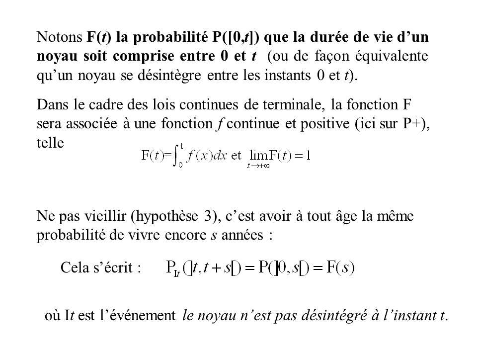 Notons F(t) la probabilité P([0,t]) que la durée de vie dun noyau soit comprise entre 0 et t (ou de façon équivalente quun noyau se désintègre entre l