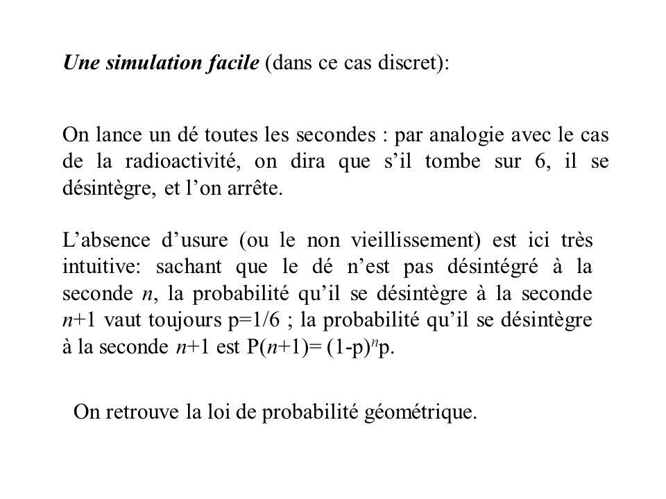 Une simulation facile (dans ce cas discret): On lance un dé toutes les secondes : par analogie avec le cas de la radioactivité, on dira que sil tombe