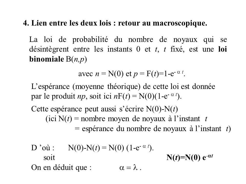 D où :N(0)-N(t) = N(0) (1-e - t ). soit N(t)=N(0) e - t On en déduit que :. 4. Lien entre les deux lois : retour au macroscopique. La loi de probabili