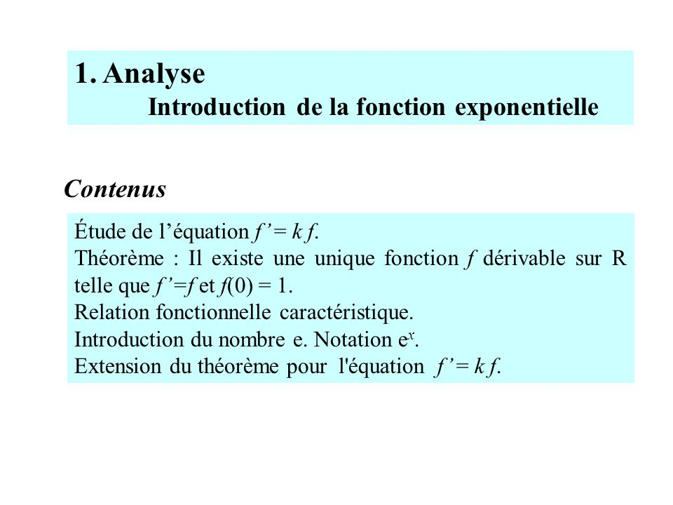 Étude de léquation f = k f. Théorème : Il existe une unique fonction f dérivable sur R telle que f=f et f(0) = 1. Relation fonctionnelle caractéristiq