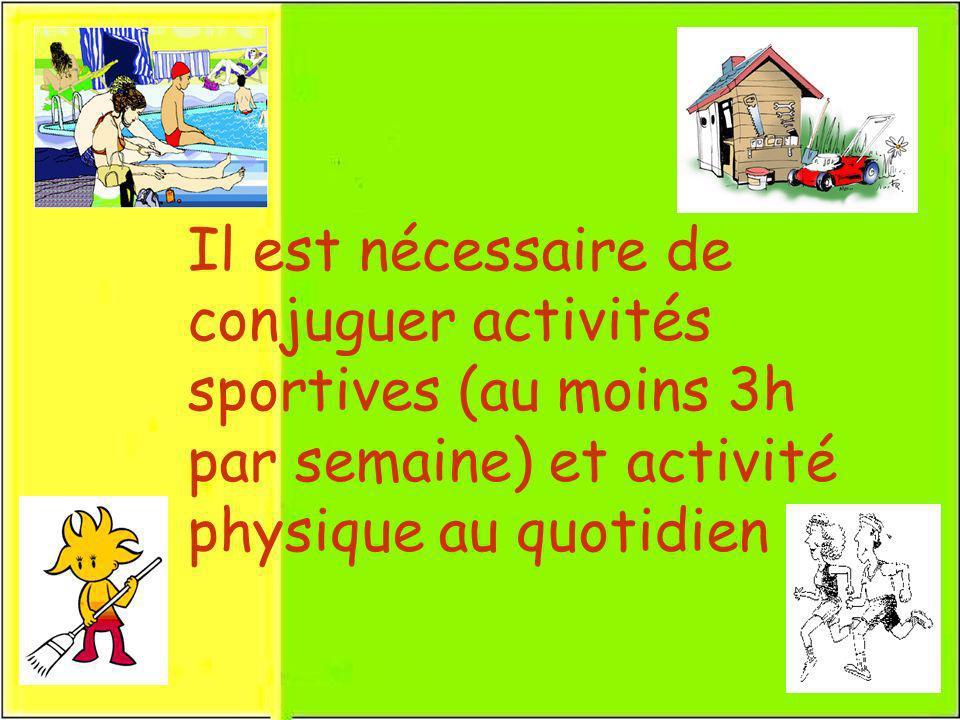 Il est nécessaire de conjuguer activités sportives (au moins 3h par semaine) et activité physique au quotidien