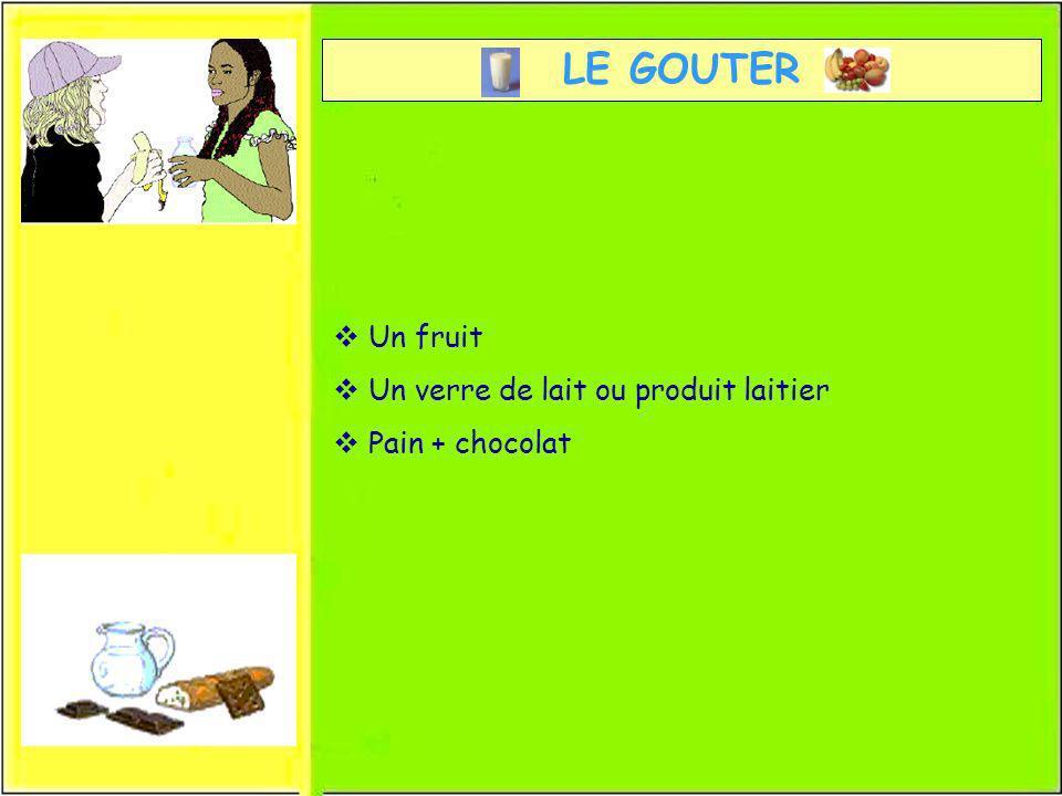 LE GOUTER Un fruit Un verre de lait ou produit laitier Pain + chocolat