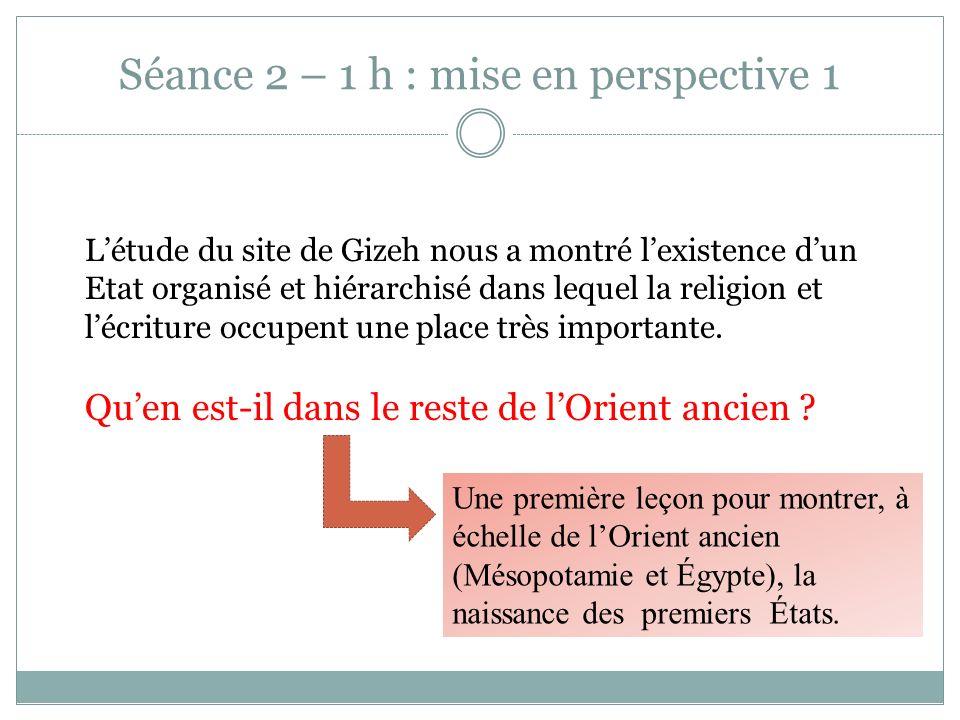 Séance 2 – 1 h : mise en perspective 1 Létude du site de Gizeh nous a montré lexistence dun Etat organisé et hiérarchisé dans lequel la religion et lé