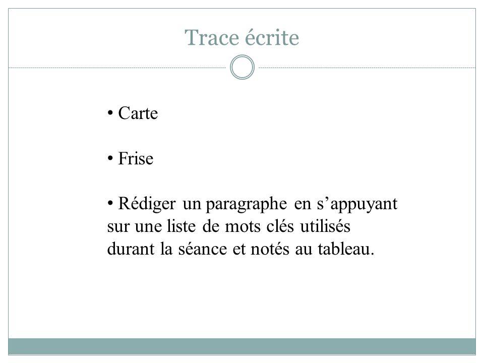 Trace écrite Carte Frise Rédiger un paragraphe en sappuyant sur une liste de mots clés utilisés durant la séance et notés au tableau.