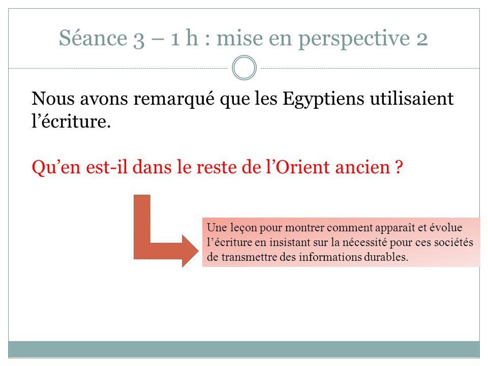 Séance 3 – 1 h : mise en perspective 2 Nous avons remarqué que les Egyptiens utilisaient lécriture. Quen est-il dans le reste de lOrient ancien ? Une