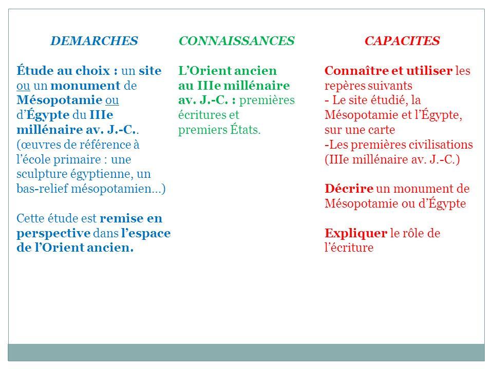 CONNAISSANCES LOrient ancien au IIIe millénaire av. J.-C. : premières écritures et premiers États. DEMARCHES Étude au choix : un site ou un monument d