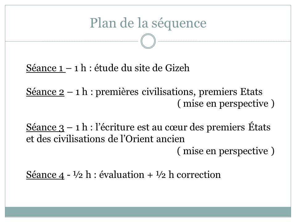 Plan de la séquence Séance 1 – 1 h : étude du site de Gizeh Séance 2 – 1 h : premières civilisations, premiers Etats ( mise en perspective ) Séance 3