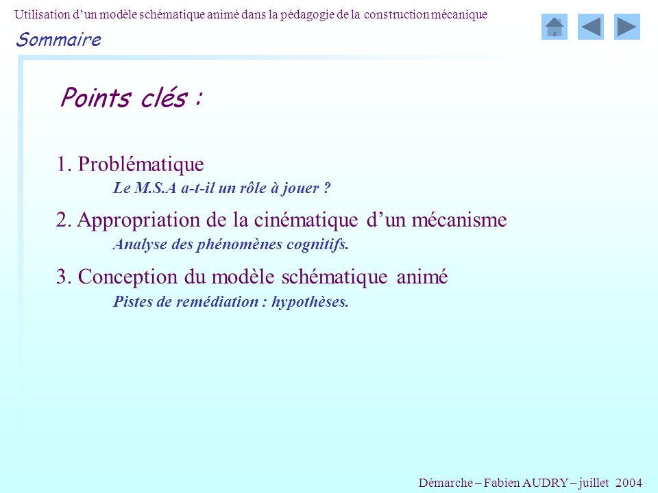 Utilisation dun modèle schématique animé dans la pédagogie de la construction mécanique Points clés : 1. Problématique 2. Appropriation de la cinémati