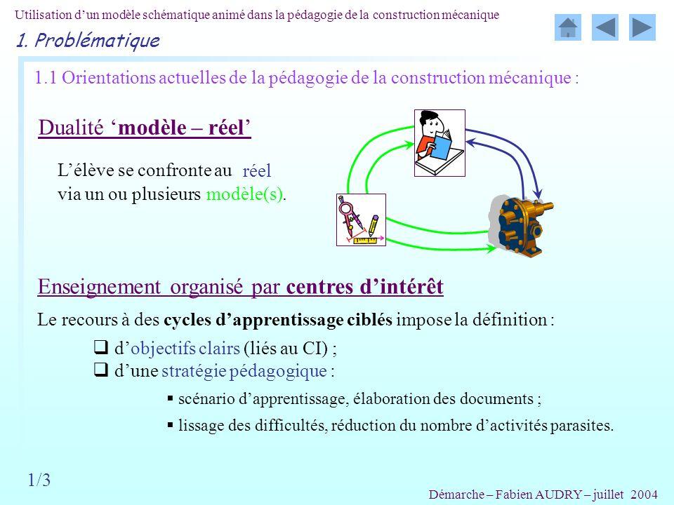 1.1 Orientations actuelles de la pédagogie de la construction mécanique : Dualité modèle – réel Enseignement organisé par centres dintérêt Lélève se c