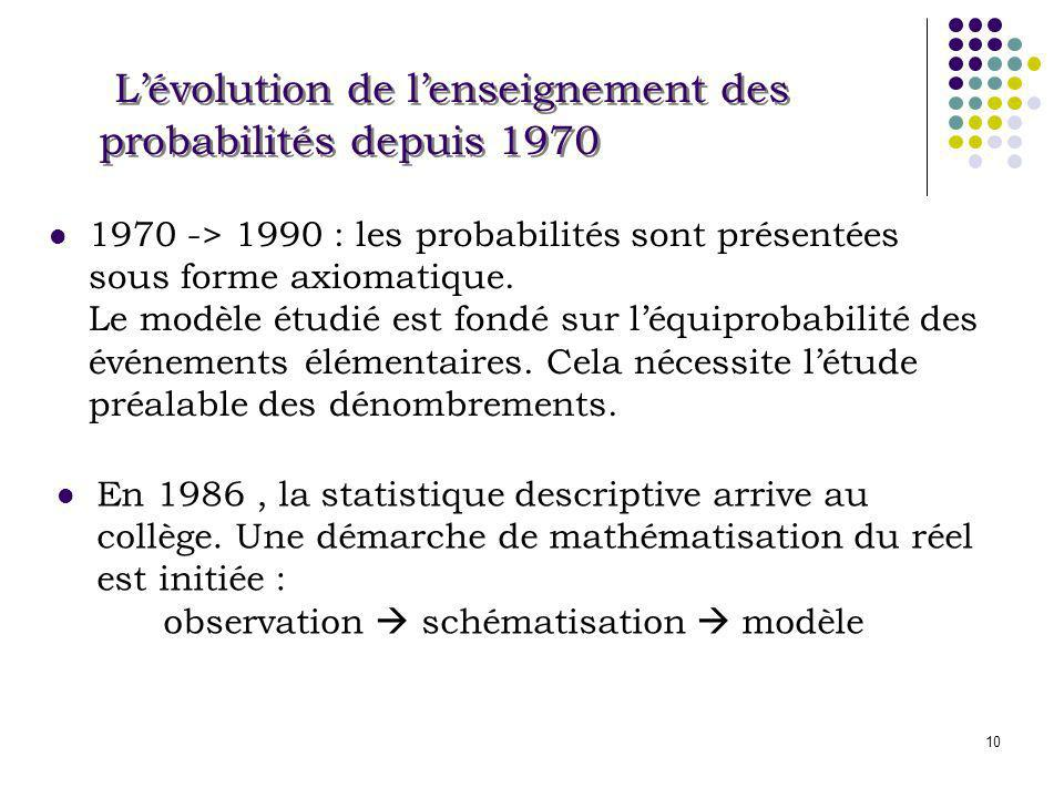 10 Lévolution de lenseignement des probabilités depuis 1970 1970 -> 1990 : les probabilités sont présentées sous forme axiomatique. Le modèle étudié e