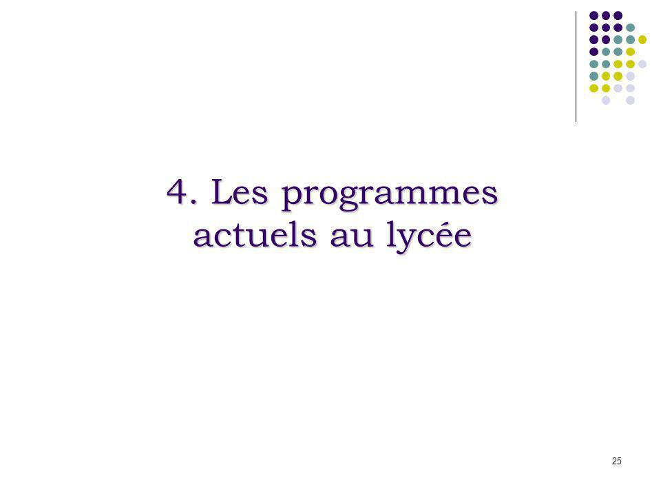 25 4. Les programmes actuels au lycée