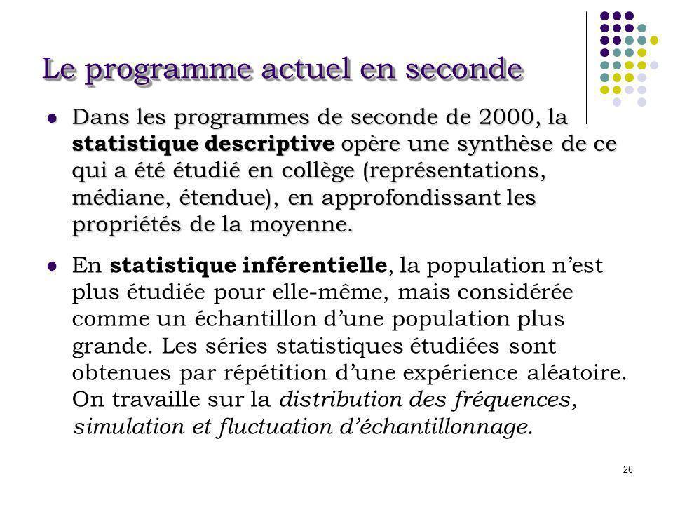 26 Dans les programmes de seconde de 2000, la statistique descriptive opère une synthèse de ce qui a été étudié en collège (représentations, médiane,