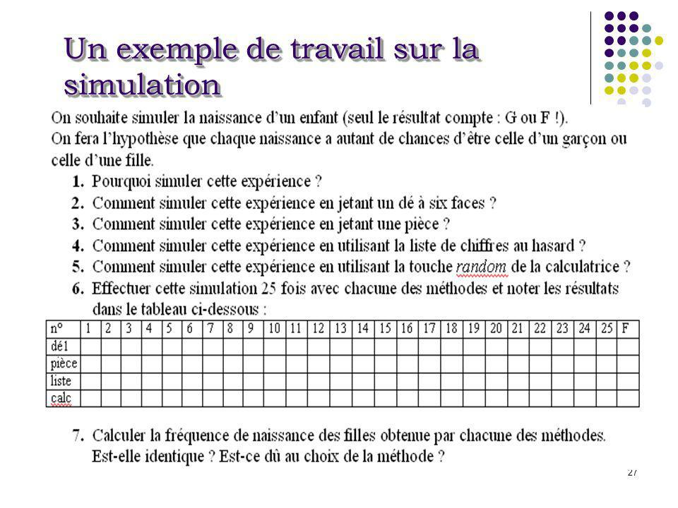 27 Un exemple de travail sur la simulation
