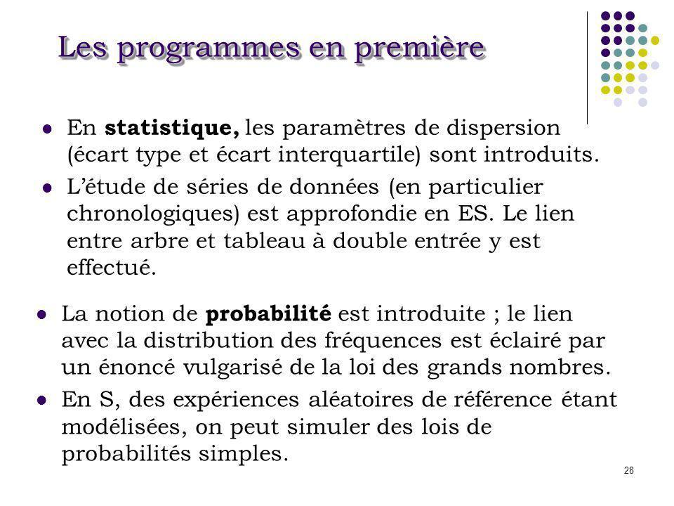 28 Les programmes en première En statistique, les paramètres de dispersion (écart type et écart interquartile) sont introduits. Létude de séries de do