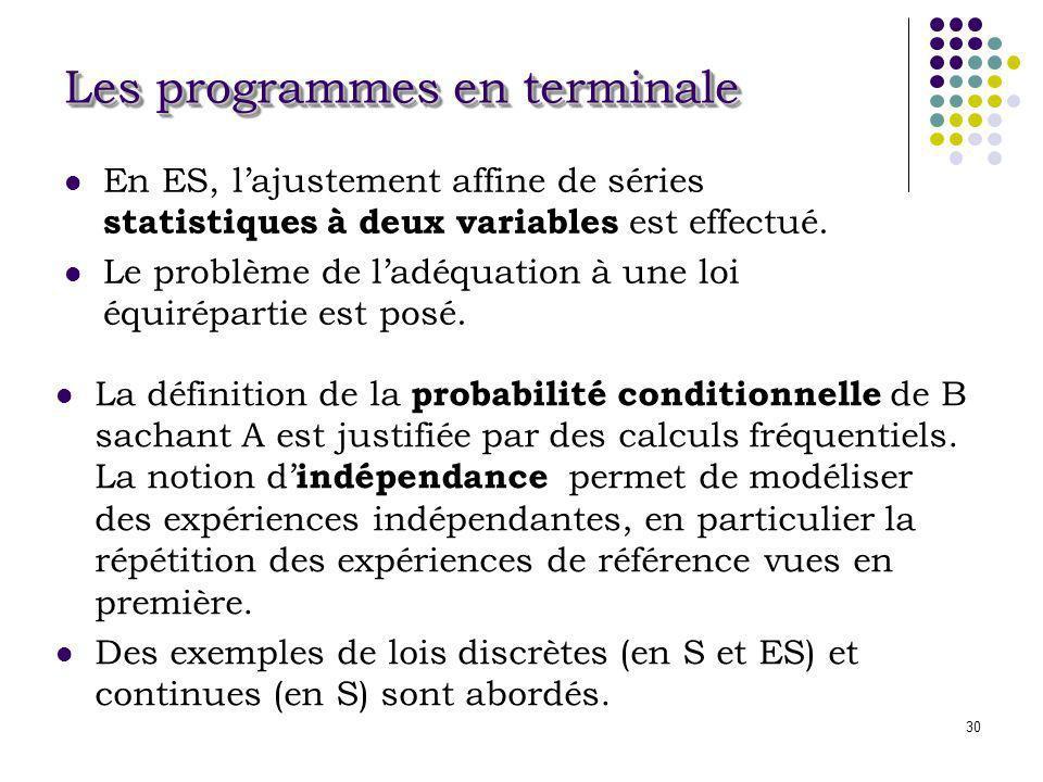 30 Les programmes en terminale En ES, lajustement affine de séries statistiques à deux variables est effectué. Le problème de ladéquation à une loi éq