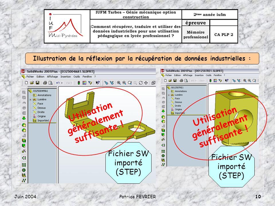 Juin 2004Patrice FEVRIER10 Fichier SW importé (STEP) Utilisation généralement suffisante ! Fichier SW importé (STEP) Utilisation généralement suffisan