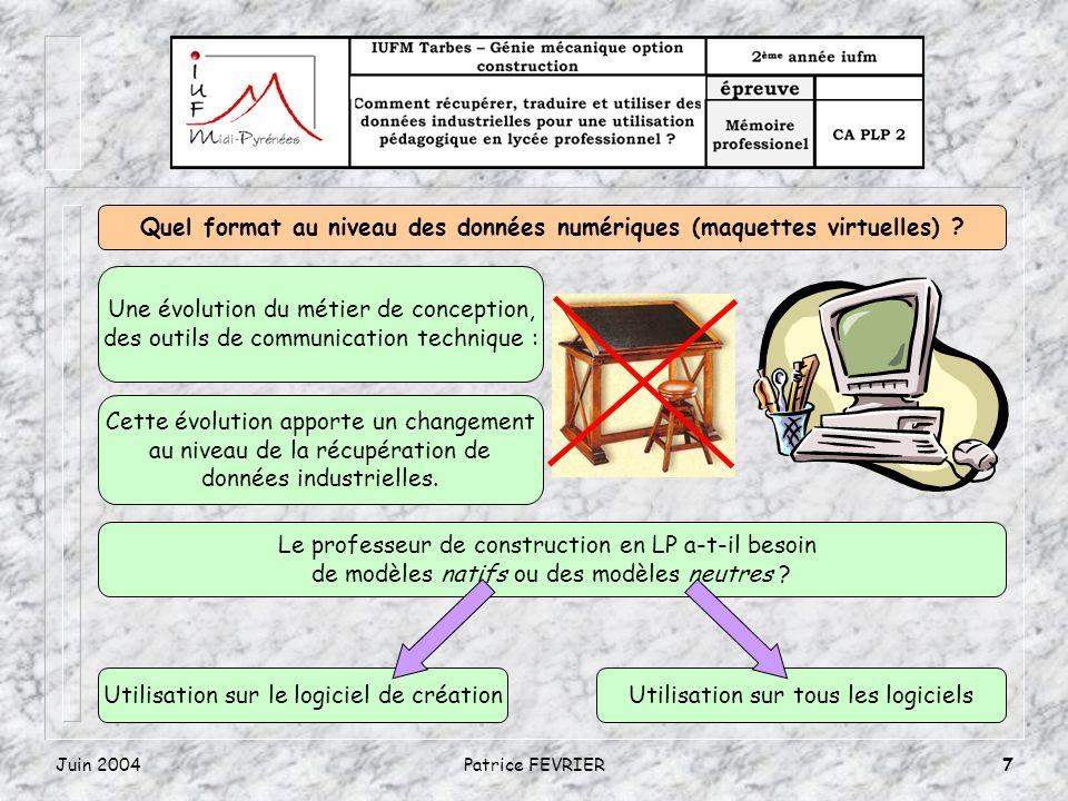 Juin 2004Patrice FEVRIER7 Quel format au niveau des données numériques (maquettes virtuelles) ? Une évolution du métier de conception, des outils de c